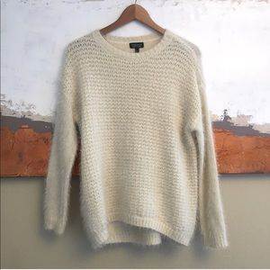 Topshop eyelash knit fuzzy cream sweater